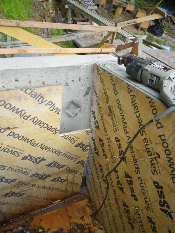 Stripping the inner skylight plywood.