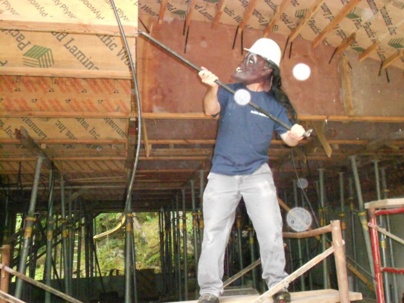 Bob stripping the forms.