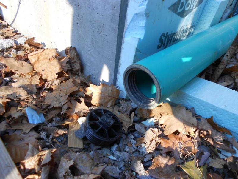 Plug for main waste line.