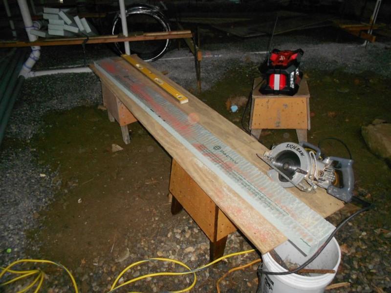 Styrofoam cut bench