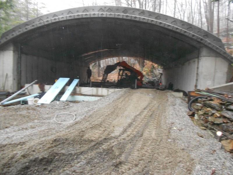 Dumping gravel inside the Hobbit House.