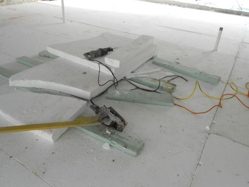 Styrofoam cutting station.