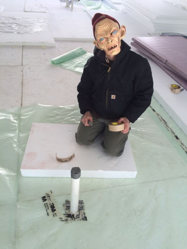 Steve demonstrating proper pipe air sealing techniques.