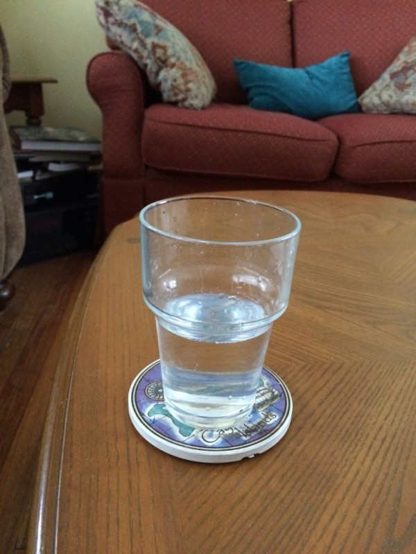 Glass of water in question.