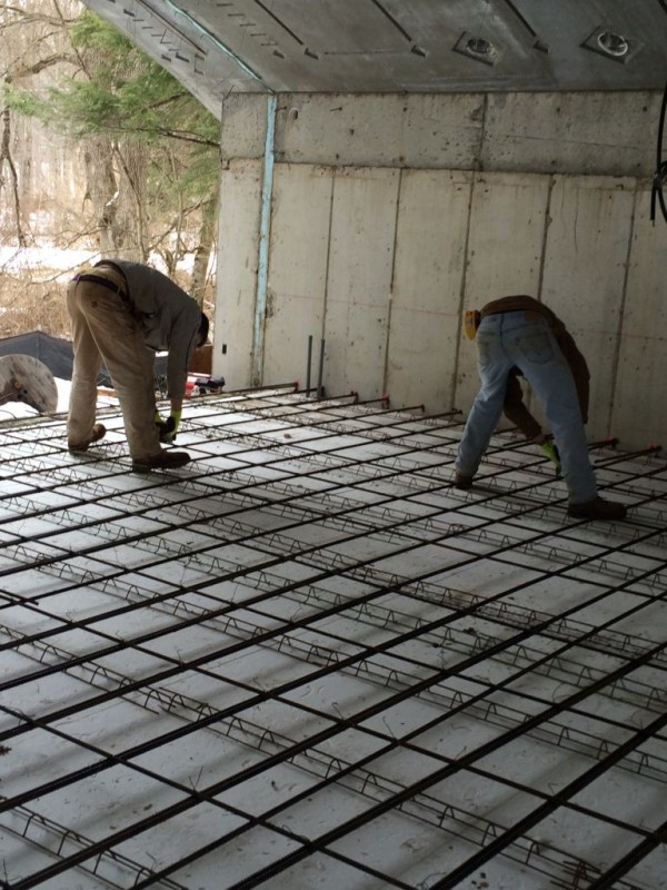 Tying the structural slab inside the Hobbit House.