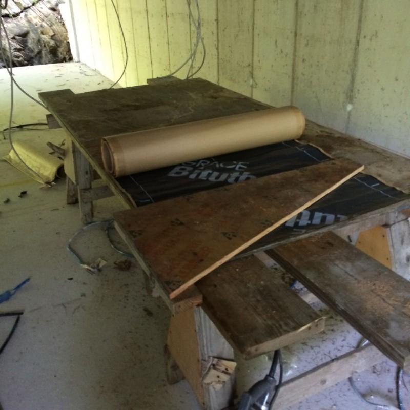 Waterproofing cut table.