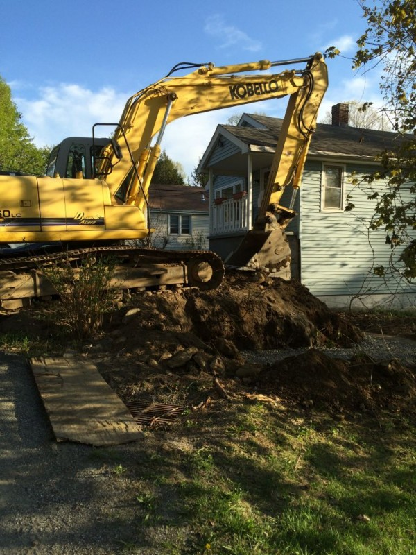 Retaining wall removal at you know whose.