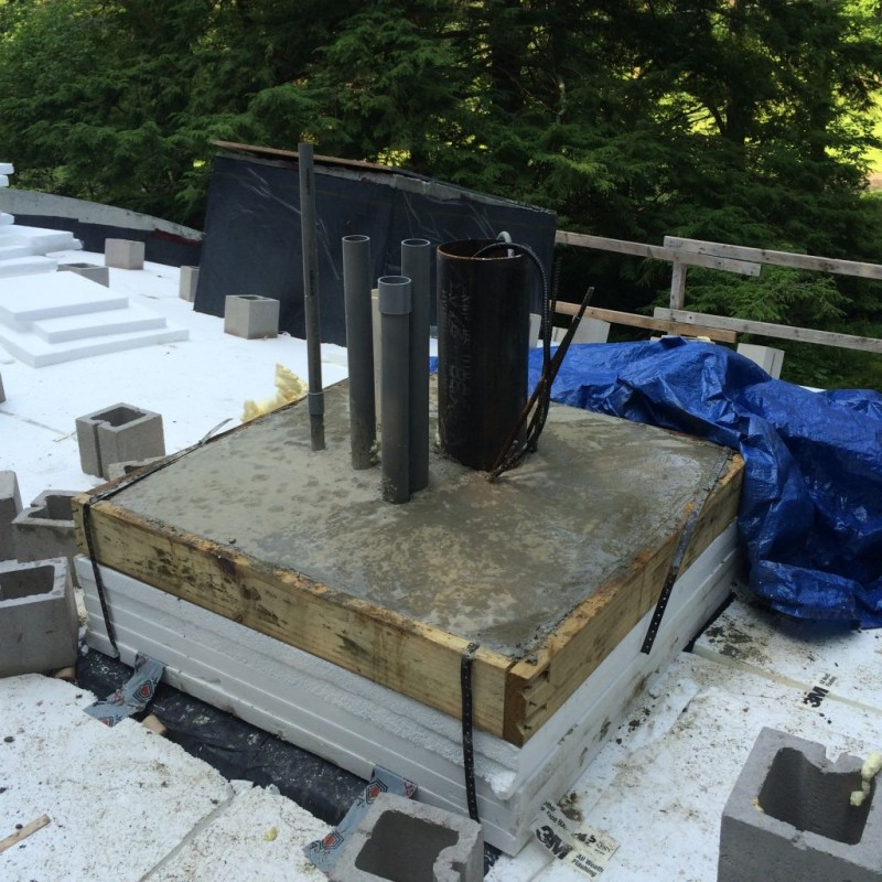 Chimney base poured with pitch.