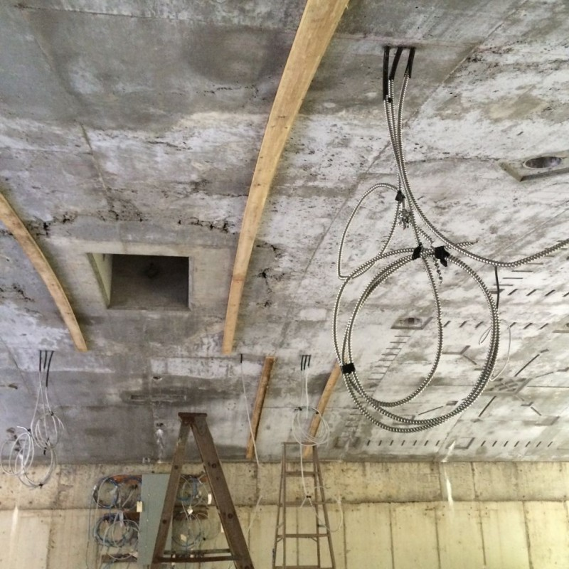Ceiling Plates being installed.
