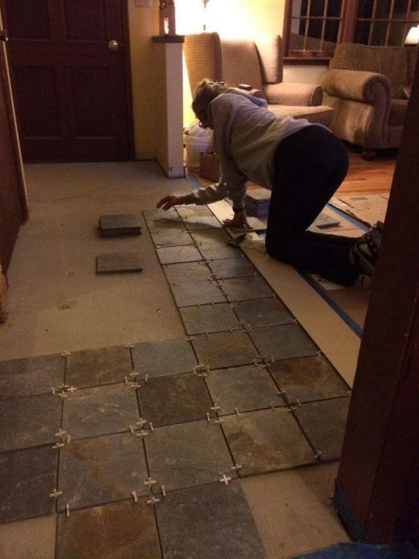 Editor laying out the tile for me.