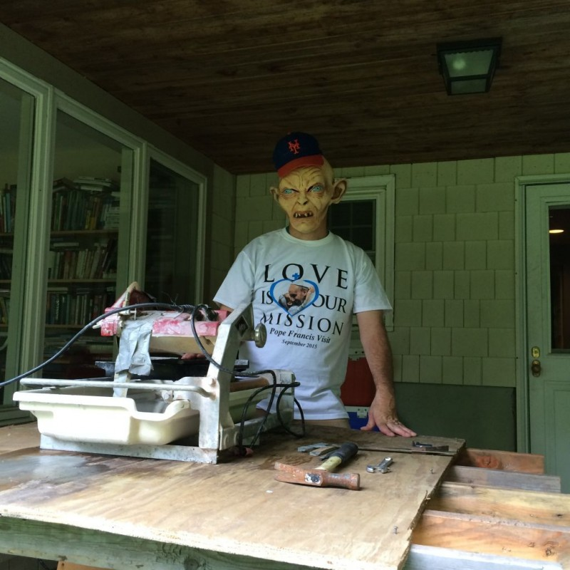 Steve working the wet saw