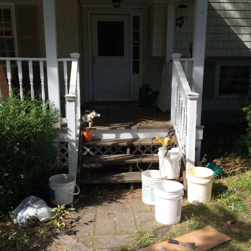 Mixing station outside the house