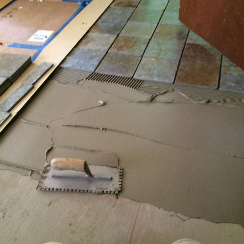 Make sure your first pass you push the thinset into the flooring.