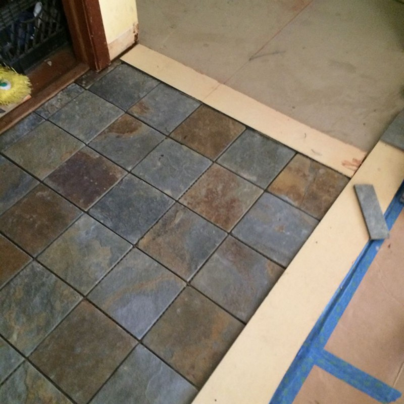 Just making sure the tiles are square here before continuing. Alignment is key.