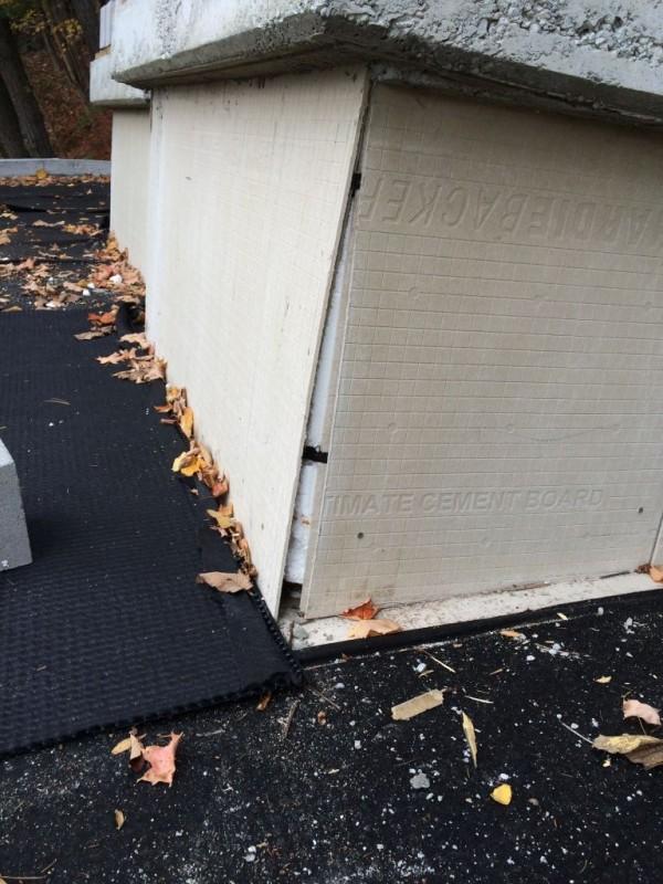 Corner gap in cement board around the skylights.