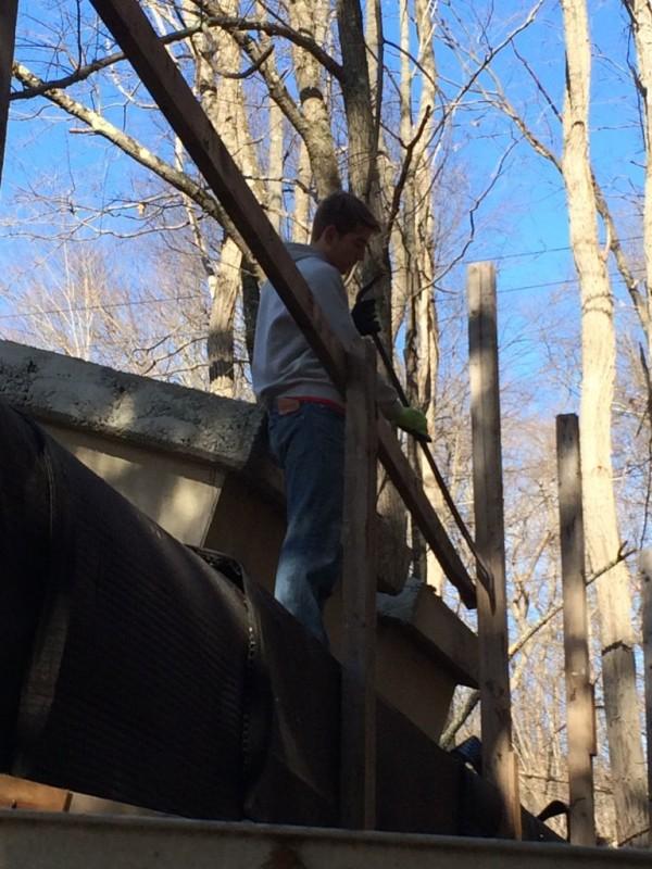 Terence dismantling the railing.