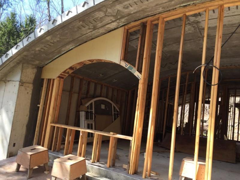 Window sheathing being installed.