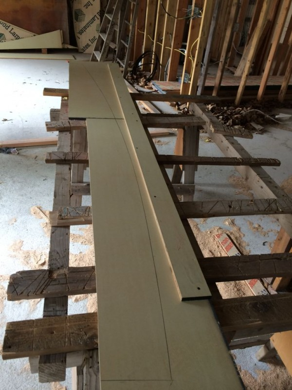 Window curvature on plywood.
