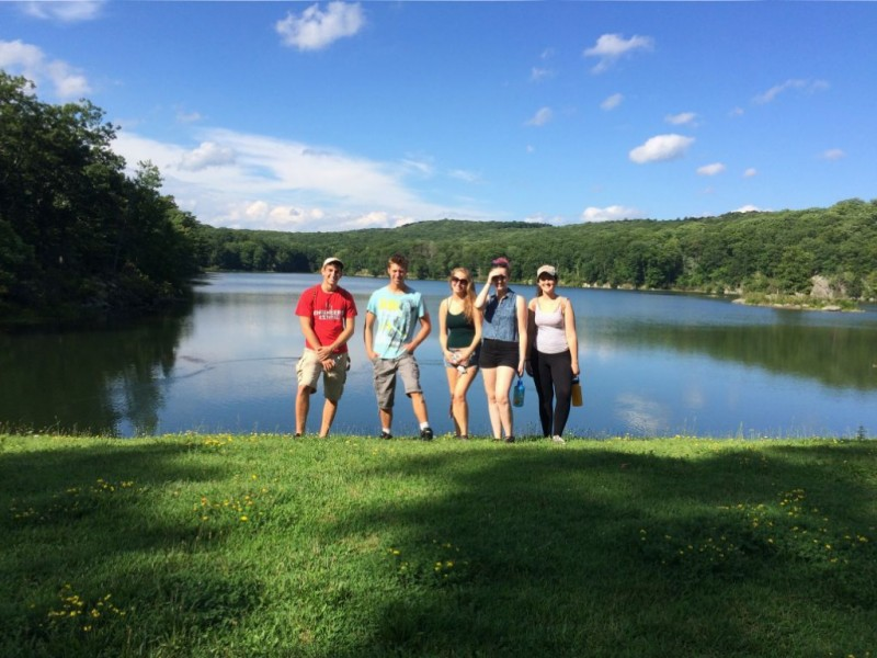 Terence, Ethan, Georgia, Lilly, Courtney posing at Nuclear Lake.