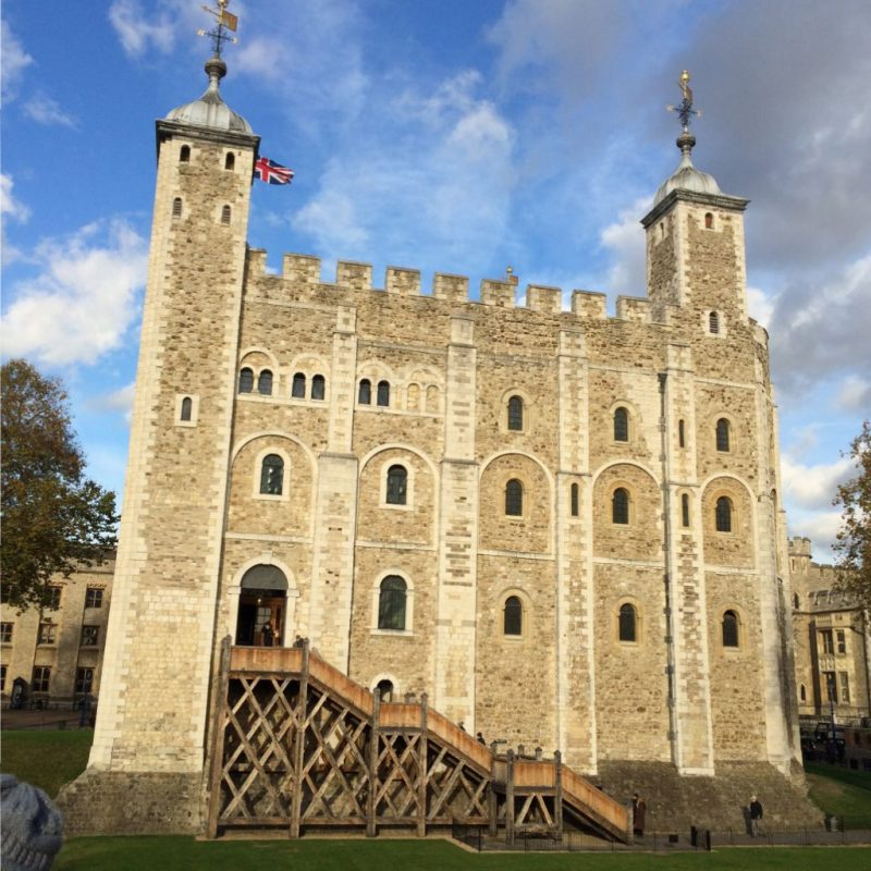 The Tower of London: Begun about 1000 years ago by William the Conqueror.